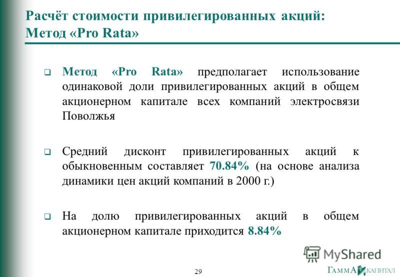 29 Метод «Pro Rata» предполагает использование одинаковой доли привилегированных акций в общем акционерном капитале всех компаний электросвязи Поволжья Средний дисконт привилегированных акций к обыкновенным составляет 70.84% (на основе анализа динами