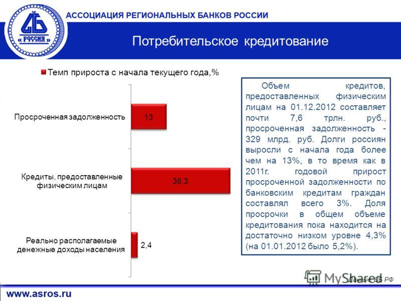 6 Данные: ЦБ РФ Объем кредитов, предоставленных физическим лицам на 01.12.2012 составляет почти 7,6 трлн. руб., просроченная задолженность - 329 млрд. руб. Долги россиян выросли с начала года более чем на 13%, в то время как в 2011г. годовой прирост