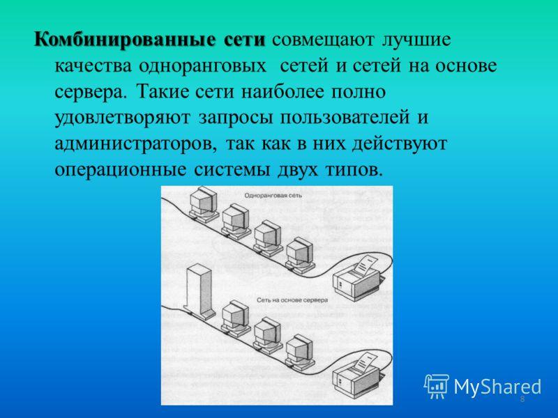 Комбинированные сети Комбинированные сети совмещают лучшие качества одноранговых сетей и сетей на основе сервера. Такие сети наиболее полно удовлетворяют запросы пользователей и администраторов, так как в них действуют операционные системы двух типов