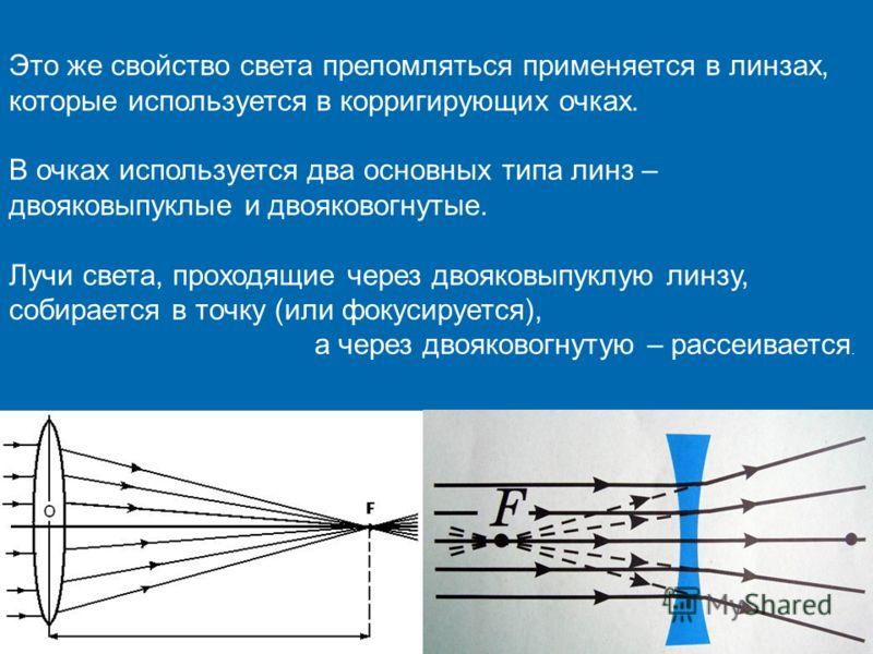 Это же свойство света преломляться применяется в линзах, которые используется в корригирующих очках. В очках используется два основных типа линз – двояковыпуклые и двояковогнутые. Лучи света, проходящие через двояковыпуклую линзу, собирается в точку