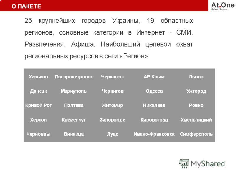 25 крупнейших городов Украины, 19 областных регионов, основные категории в Интернет - СМИ, Развлечения, Афиша. Наибольший целевой охват региональных ресурсов в сети «Регион» О ПАКЕТЕ