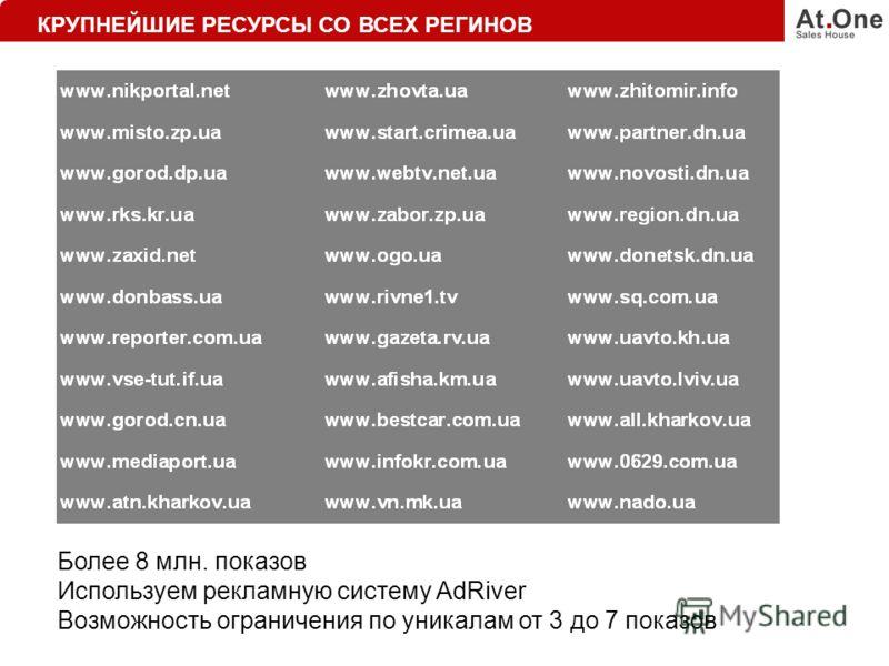 КРУПНЕЙШИЕ РЕСУРСЫ СО ВСЕХ РЕГИНОВ Более 8 млн. показов Используем рекламную систему AdRiver Возможность ограничения по уникалам от 3 до 7 показов