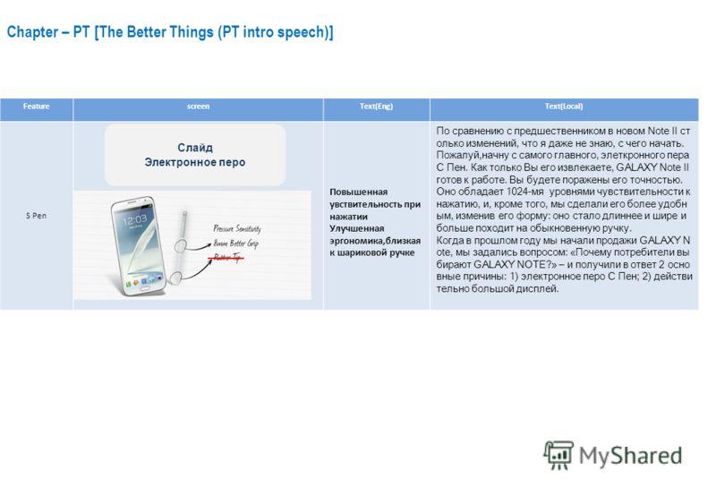 Chapter – PT [The Better Things (PT intro speech)] FeaturescreenText(Eng)Text(Local) S Pen Повышенная увствительность при нажатии Улучшенная эргономика,близкая к шариковой ручке По сравнению с предшественником в новом Note II ст олько изменений, что