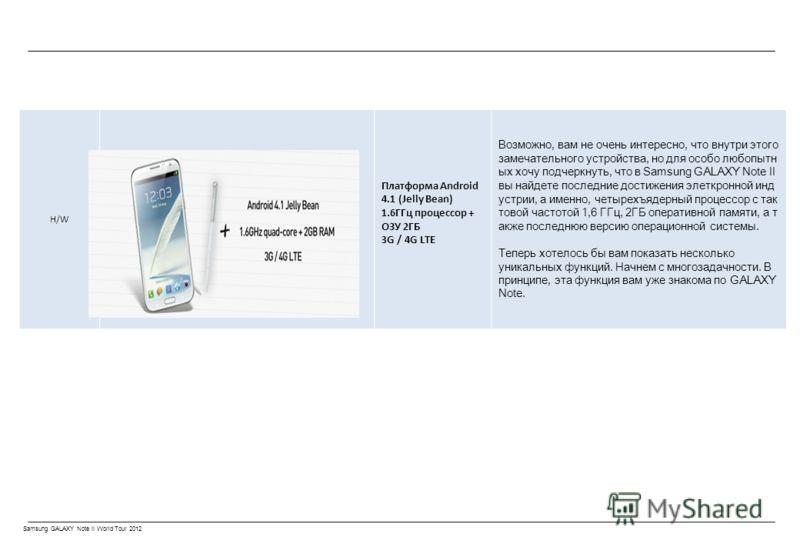 Samsung GALAXY Note II World Tour 2012 H/W Платформа Android 4.1 (Jelly Bean) 1.6ГГц процессор + ОЗУ 2ГБ 3G / 4G LTE Возможно, вам не очень интересно, что внутри этого замечательного устройства, но для особо любопытн ых хочу подчеркнуть, что в Samsun