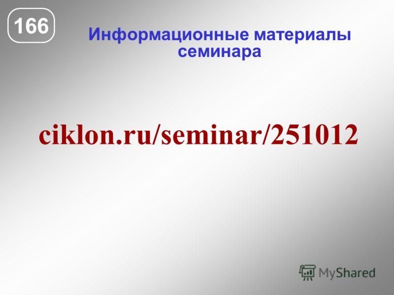 Информационные материалы семинара 166 ciklon.ru/seminar/251012