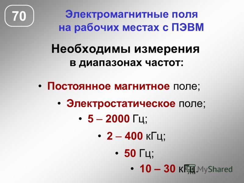 Электромагнитные поля на рабочих местах с ПЭВМ Необходимы измерения в диапазонах частот: 70 Электростатическое поле; 5 – 2000 Гц; 50 Гц; 2 – 400 кГц; 10 – 30 кГц. Постоянное магнитное поле;