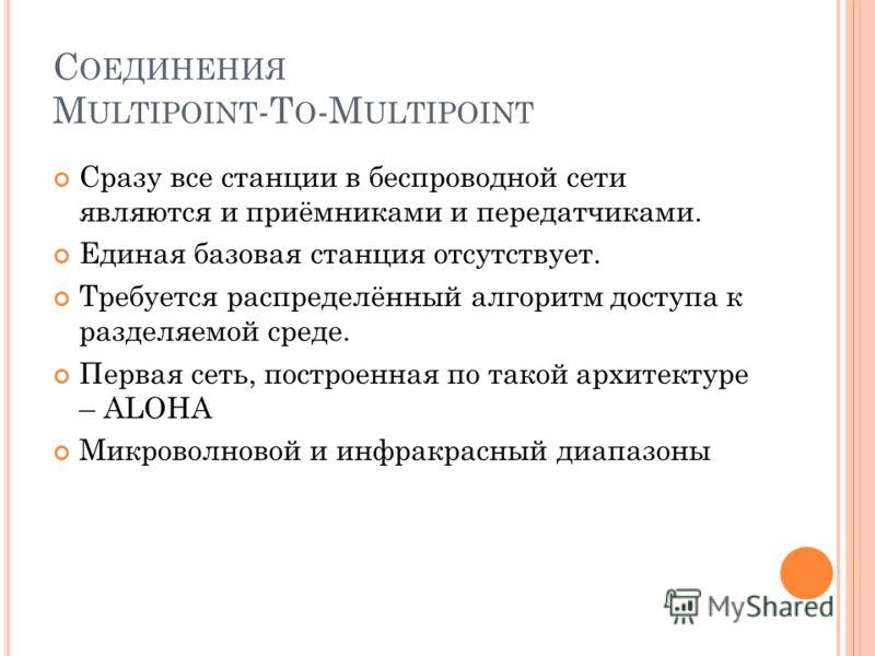 С ОЕДИНЕНИЯ M ULTIPOINT -T O -M ULTIPOINT Сразу все станции в беспроводной сети являются и приёмниками и передатчиками. Единая базовая станция отсутствует. Требуется распределённый алгоритм доступа к разделяемой среде. Первая сеть, построенная по так