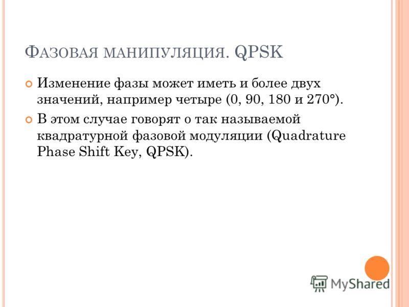 Ф АЗОВАЯ МАНИПУЛЯЦИЯ. QPSK Изменение фазы может иметь и более двух значений, например четыре (0, 90, 180 и 270°). В этом случае говорят о так называемой квадратурной фазовой модуляции (Quadrature Phase Shift Key, QPSK).