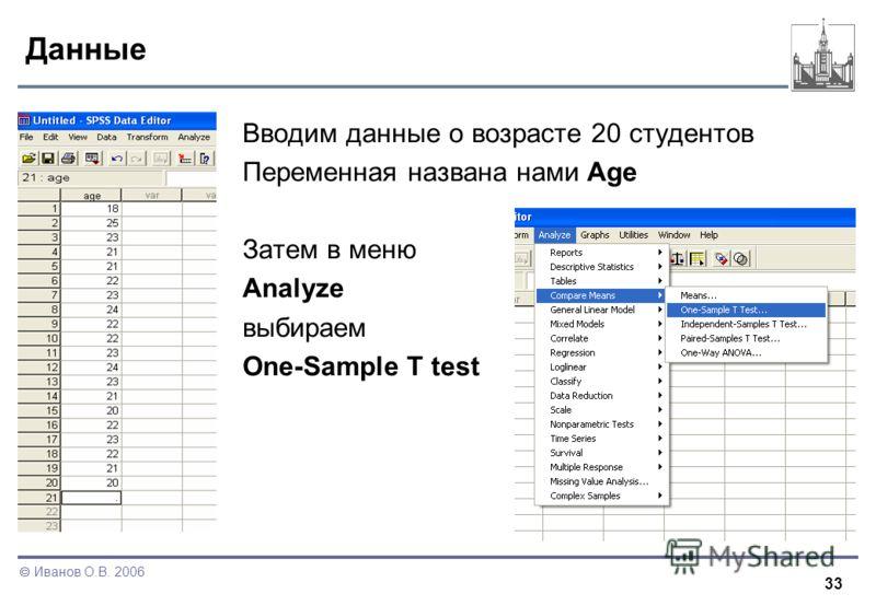 33 Иванов О.В. 2006 Данные Вводим данные о возрасте 20 студентов Переменная названа нами Age Затем в меню Analyze выбираем One-Sample T test