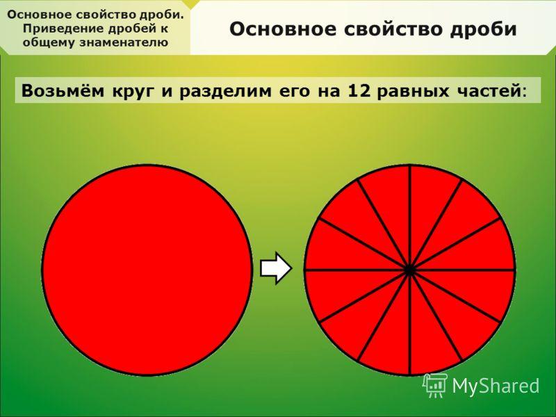 Основное свойство дроби. Приведение дробей к общему знаменателю Основное свойство дроби Возьмём круг и разделим его на 12 равных частей :