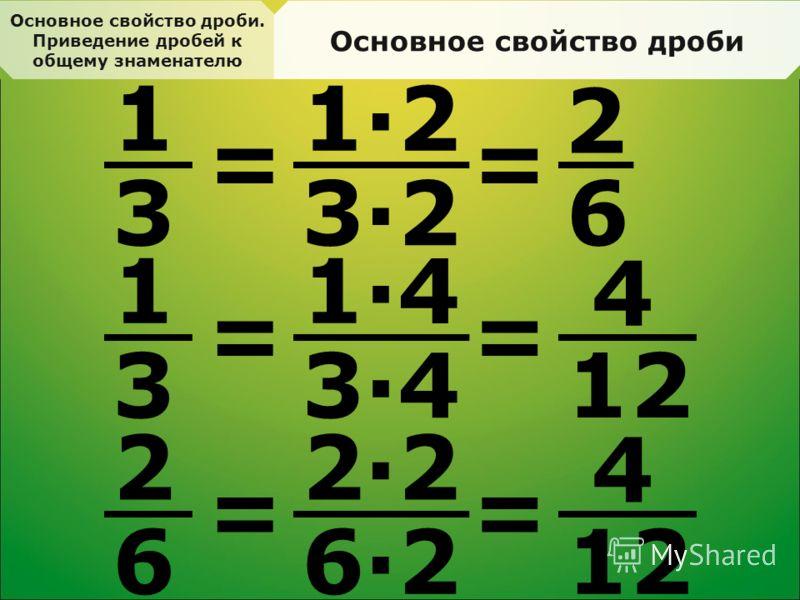 Основное свойство дроби. Приведение дробей к общему знаменателю Основное свойство дроби 1 3 = 1·2 3·2 = 2 6 1 3 = 1·4 3·4 = 4 12 2 6 = 2·2 6·2 = 4 12