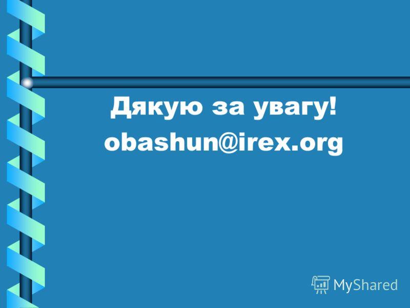 Дякую за увагу! obashun@irex.org