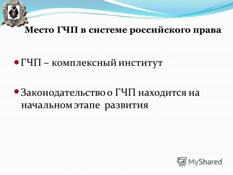 Место ГЧП в системе российского права ГЧП – комплексный институт Законодательство о ГЧП находится на начальном этапе развития