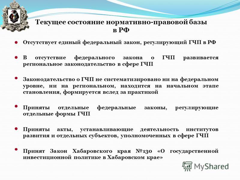 Текущее состояние нормативно-правовой базы в РФ Отсутствует единый федеральный закон, регулирующий ГЧП в РФ В отсутствие федерального закона о ГЧП развивается региональное законодательство в сфере ГЧП Законодательство о ГЧП не систематизировано ни на