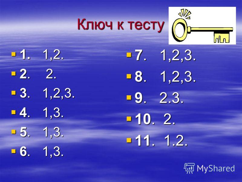 Ключ к тесту 1. 1,2. 1. 1,2. 2. 2. 2. 2. 3. 1,2,3. 3. 1,2,3. 4. 1,3. 4. 1,3. 5. 1,3. 5. 1,3. 6. 1,3. 6. 1,3. 7. 1,2,3. 7. 1,2,3. 8. 1,2,3. 8. 1,2,3. 9. 2.3. 9. 2.3. 10. 2. 10. 2. 11. 1.2. 11. 1.2.