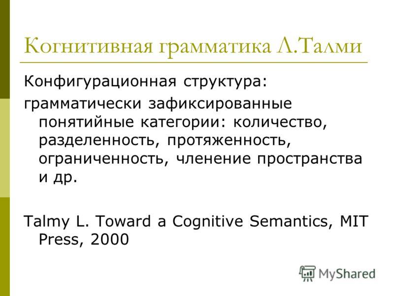 Когнитивная грамматика Л.Талми Конфигурационная структура: грамматически зафиксированные понятийные категории: количество, разделенность, протяженность, ограниченность, членение пространства и др. Talmy L. Toward a Cognitive Semantics, MIT Press, 200