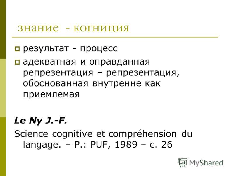 знание - когниция результат - процесс адекватная и оправданная репрезентация – репрезентация, обоснованная внутренне как приемлемая Le Ny J.-F. Science cognitive et compréhension du langage. – P.: PUF, 1989 – с. 26
