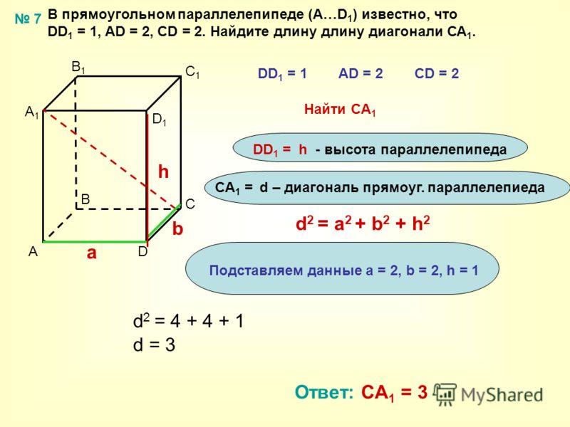 В прямоугольном параллелепипеде (А…D 1 ) известно, что DD 1 = 1, AD = 2, CD = 2. Найдите длину длину диагонали СА 1. A B C D A1A1 B1B1 C1C1 D1D1 DD 1 = 1AD = 2CD = 2 Найти CА 1 DD 1 = h - высота параллелепипеда d 2 = a 2 + b 2 + h 2 a b h Подставляем