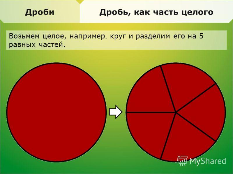 ДробиДробь, как часть целого Возьмем целое, например, круг и разделим его на 5 равных частей.