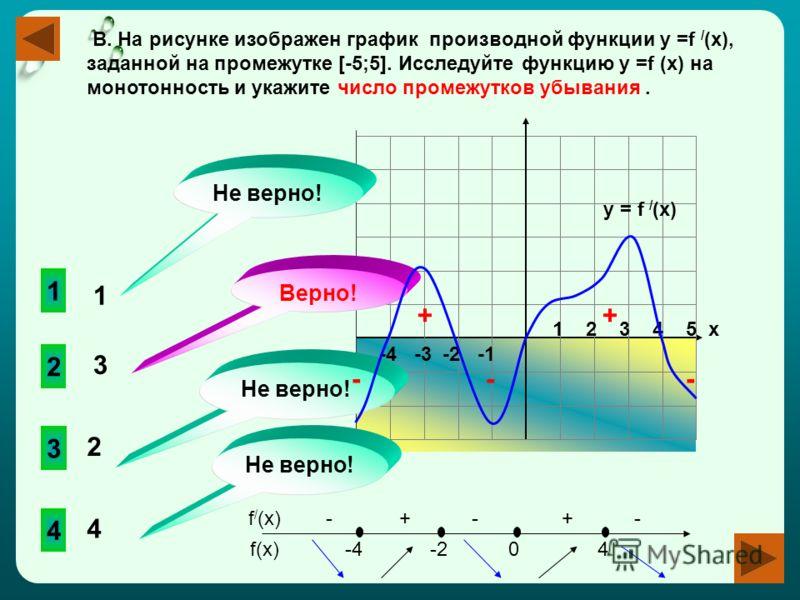 -4 -3 -2 -1 1 2 3 4 5 х В. На рисунке изображен график производной функции у =f / (x), заданной на промежутке [-5;5]. Исследуйте функцию у =f (x) на монотонность и укажите число промежутков убывания. 2 3 4 1 Не верно! Верно! Не верно! 1 3 2 4 y = f /