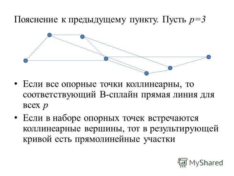 Пояснение к предыдущему пункту. Пусть p=3 Если все опорные точки коллинеарны, то соответствующий В-сплайн прямая линия для всех p Если в наборе опорных точек встречаются коллинеарные вершины, тот в результирующей кривой есть прямолинейные участки