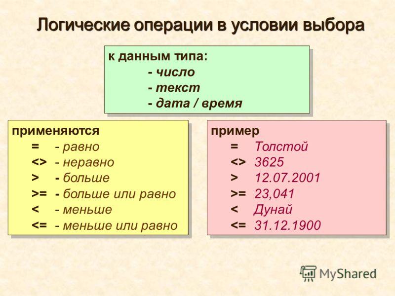 Логические операции в условии выбора применяются = - равно  - неравно > - больше >= - больше или равно < - меньше  - больше >= - больше или равно < - меньше  12.07.2001 >= 23,041 < Дунай  12.07.2001 >= 23,041 < Дунай