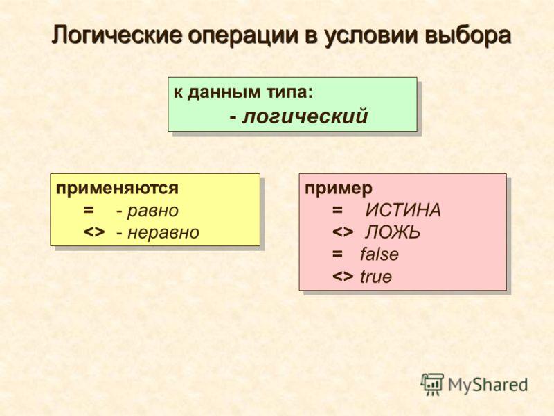 применяются = - равно  - неравно применяются = - равно  - неравно к данным типа: - логический к данным типа: - логический пример = ИСТИНА  ЛОЖЬ =false true пример = ИСТИНА  ЛОЖЬ =false true Логические операции в условии выбора