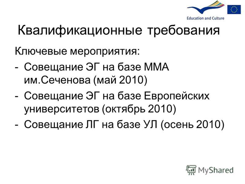 Квалификационные требования Ключевые мероприятия: -Совещание ЭГ на базе ММА им.Сеченова (май 2010) -Совещание ЭГ на базе Европейских университетов (октябрь 2010) -Совещание ЛГ на базе УЛ (осень 2010)