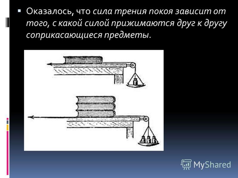 Оказалось, что сила трения покоя зависит от того, с какой силой прижимаются друг к другу соприкасающиеся предметы.