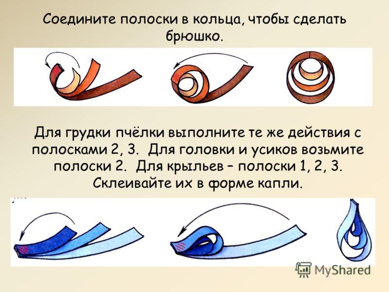 Соедините полоски в кольца, чтобы сделать брюшко. Для грудки пчёлки выполните те же действия с полосками 2, 3. Для головки и усиков возьмите полоски 2. Для крыльев – полоски 1, 2, 3. Склеивайте их в форме капли.