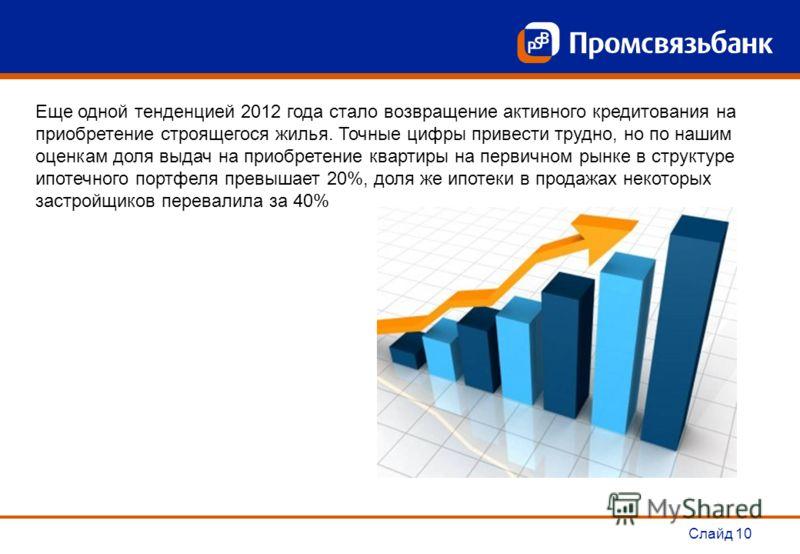 Слайд 10 Еще одной тенденцией 2012 года стало возвращение активного кредитования на приобретение строящегося жилья. Точные цифры привести трудно, но по нашим оценкам доля выдач на приобретение квартиры на первичном рынке в структуре ипотечного портфе