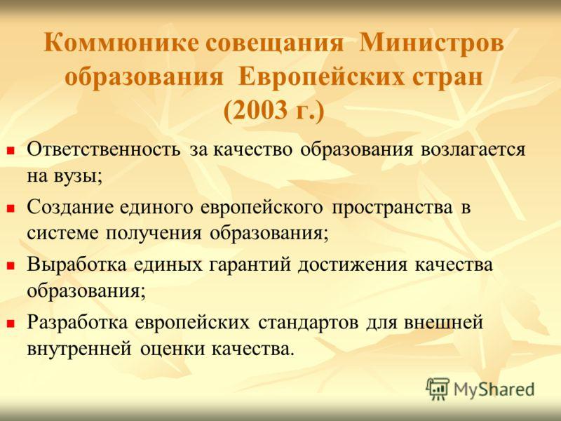 Коммюнике совещания Министров образования Европейских стран (2003 г.) Ответственность за качество образования возлагается на вузы; Создание единого европейского пространства в системе получения образования; Выработка единых гарантий достижения качест