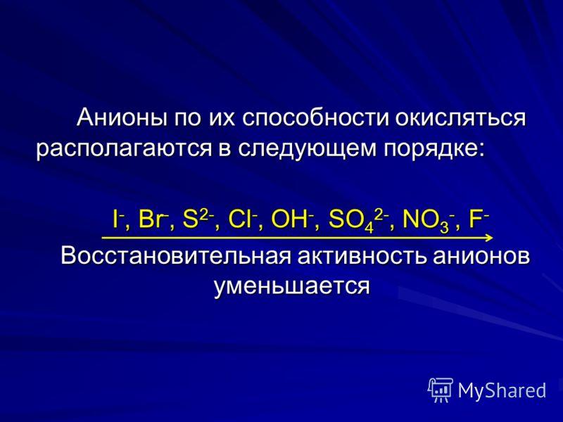Анионы по их способности окисляться располагаются в следующем порядке: Анионы по их способности окисляться располагаются в следующем порядке: I -, Br -, S 2-, Cl -, OH -, SO 4 2-, NO 3 -, F - I -, Br -, S 2-, Cl -, OH -, SO 4 2-, NO 3 -, F - Восстано