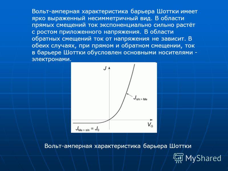 Вольт-амперная характеристика барьера Шоттки имеет ярко выраженный несимметричный вид. В области прямых смещений ток экспоненциально сильно растёт с ростом приложенного напряжения. В области обратных смещений ток от напряжения не зависит. В обеих слу