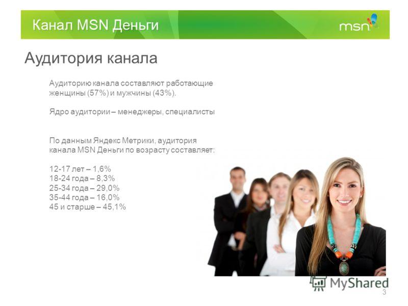 Аудитория канала Аудиторию канала составляют работающие женщины (57%) и мужчины (43%). Ядро аудитории – менеджеры, специалисты По данным Яндекс Метрики, аудитория канала MSN Деньги по возрасту составляет: 12-17 лет – 1,6% 18-24 года – 8,3% 25-34 года
