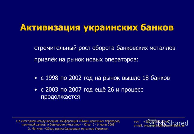 Активизация украинских банков стремительный рост оборота банковских металлов привлёк на рынок новых операторов: с 1998 по 2002 год на рынок вышло 18 банков с 2003 по 2007 год ещё 26 и процесс продолжается 1-я ежегодная международная конференция «Рынк