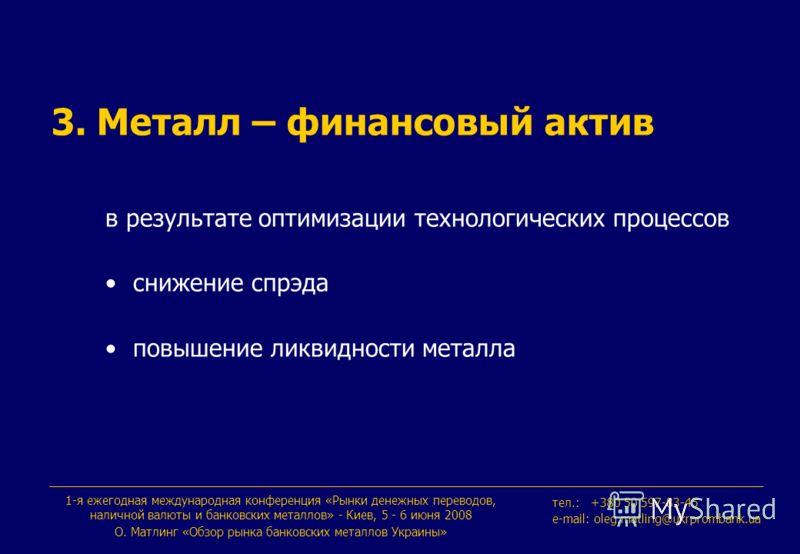 1-я ежегодная международная конференция «Рынки денежных переводов, наличной валюты и банковских металлов» - Киев, 5 - 6 июня 2008 О. Maтлинг «Обзор рынка банковских металлов Украины» тeл.: +380 50 597-83-45 e-mail: oleg.matling@ukrprombank.ua в резул