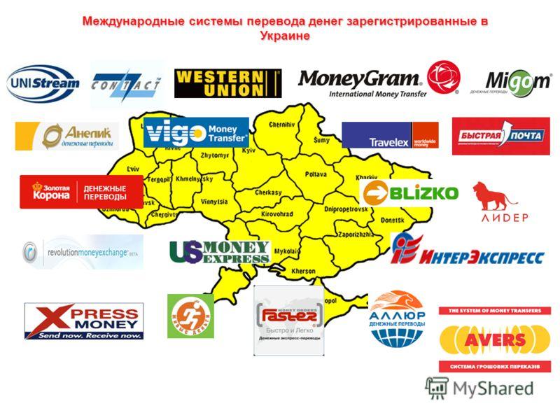 Международные системы перевода денег зарегистрированные в Украине