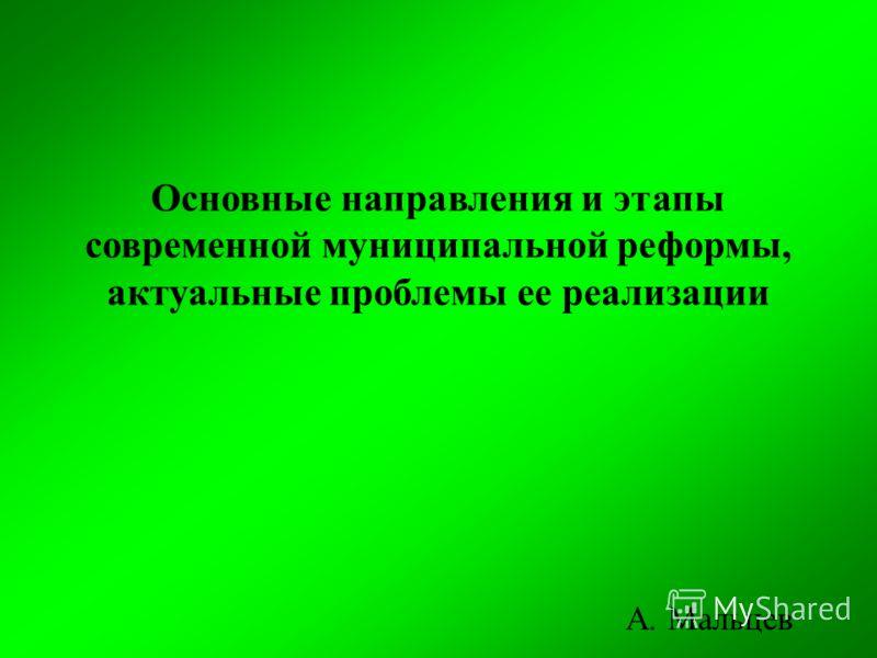 А. Мальцев Основные направления и этапы современной муниципальной реформы, актуальные проблемы ее реализации