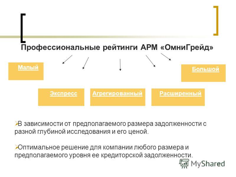 15 Профессиональные рейтинги АРМ «ОмниГрейд» Малый ЭкспрессАгрегированныйРасширенный В зависимости от предполагаемого размера задолженности с разной глубиной исследования и его ценой. Оптимальное решение для компании любого размера и предполагаемого