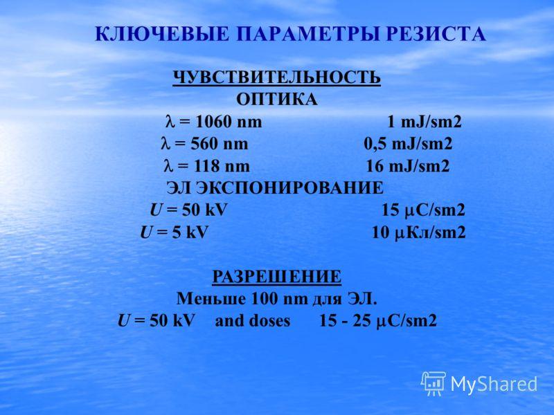 ЧУВСТВИТЕЛЬНОСТЬ ОПТИКА = 1060 nm 1 mJ/sm2 = 560 nm 0,5 mJ/sm2 = 118 nm 16 mJ/sm2 ЭЛ ЭКСПОНИРОВАНИЕ U = 50 kV 15 C/sm2 U = 5 kV 10 Кл/sm2 РАЗРЕШЕНИЕ Меньше 100 nm для ЭЛ. U = 50 kV and doses 15 - 25 C/sm2 КЛЮЧЕВЫЕ ПАРАМЕТРЫ РЕЗИСТА