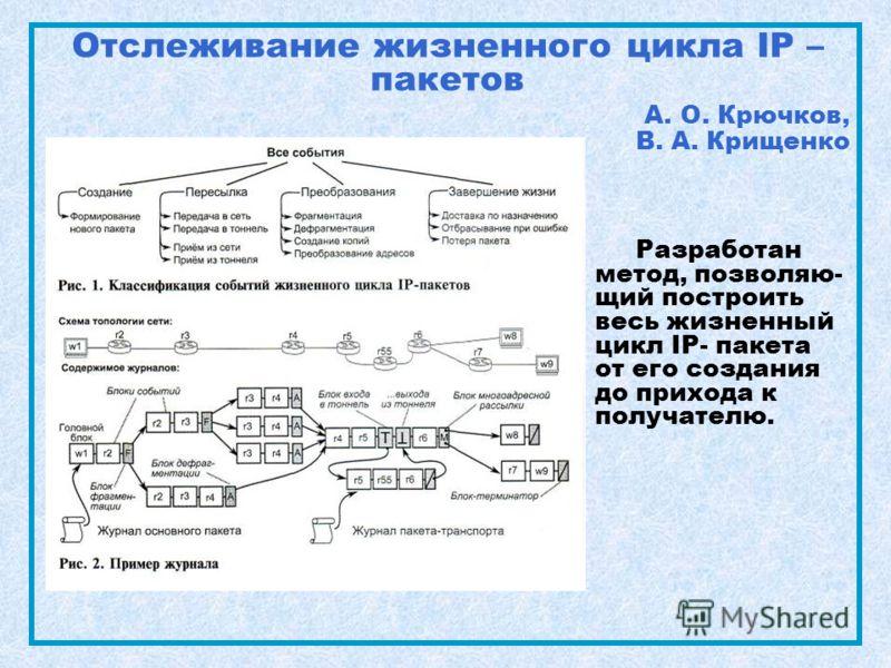 Отслеживание жизненного цикла IP – пакетов А. О. Крючков, В. А. Крищенко Разработан метод, позволяю- щий построить весь жизненный цикл IP- пакета от его создания до прихода к получателю.
