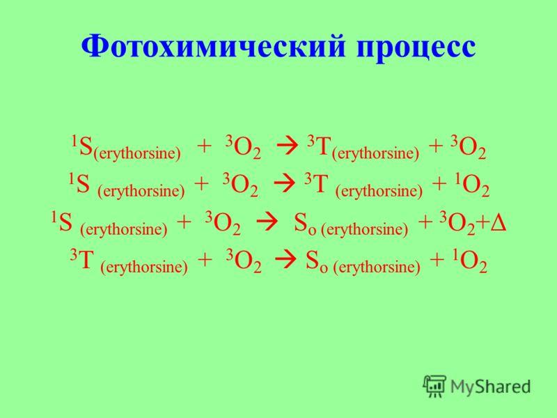 Фотохимический процесс 1 S (erythorsine) + 3 O 2 3 T (erythorsine) + 3 O 2 1 S (erythorsine) + 3 O 2 3 T (erythorsine) + 1 O 2 1 S (erythorsine) + 3 O 2 S o (erythorsine) + 3 O 2 +Δ 3 T (erythorsine) + 3 O 2 S o (erythorsine) + 1 O 2