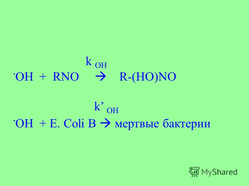 k OH. OH + RNO R-(HO)NO k OH. OH + E. Coli B мертвые бактерии