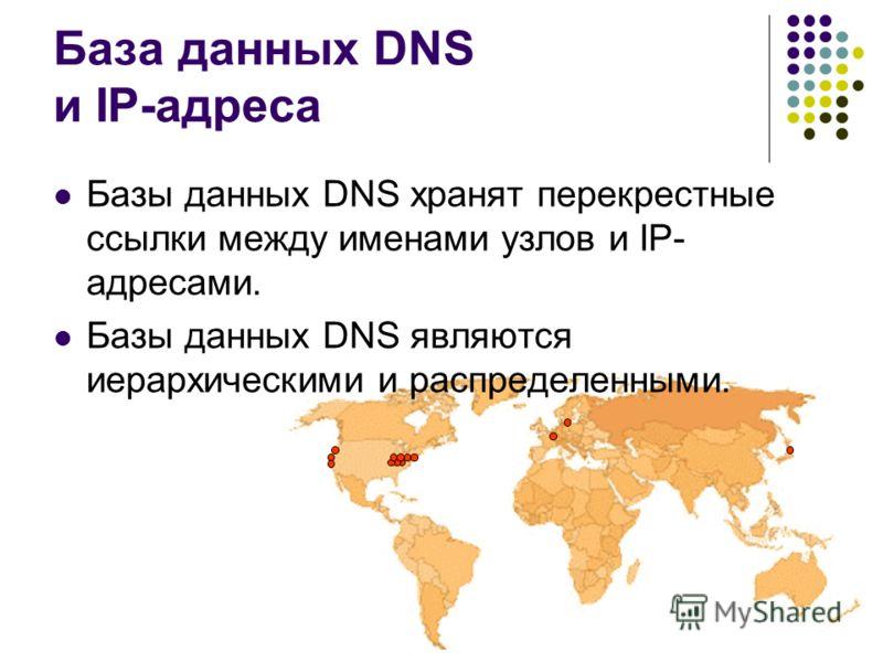База данных DNS и IP-адреса Базы данных DNS хранят перекрестные ссылки между именами узлов и IP- адресами. Базы данных DNS являются иерархическими и распределенными.