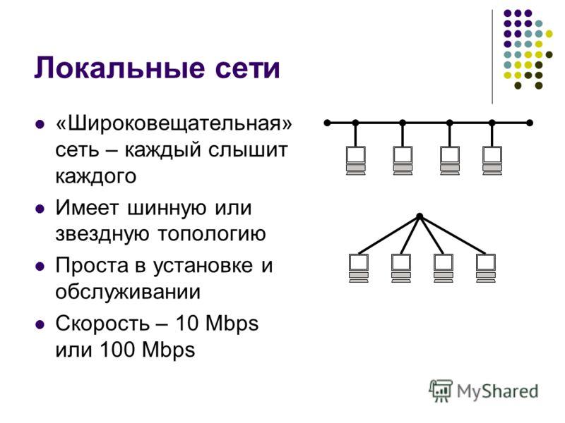 Локальные сети «Широковещательная» сеть – каждый слышит каждого Имеет шинную или звездную топологию Проста в установке и обслуживании Скорость – 10 Mbps или 100 Mbps