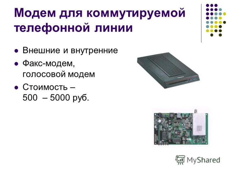 Модем для коммутируемой телефонной линии Внешние и внутренние Факс-модем, голосовой модем Стоимость – 500 – 5000 руб.