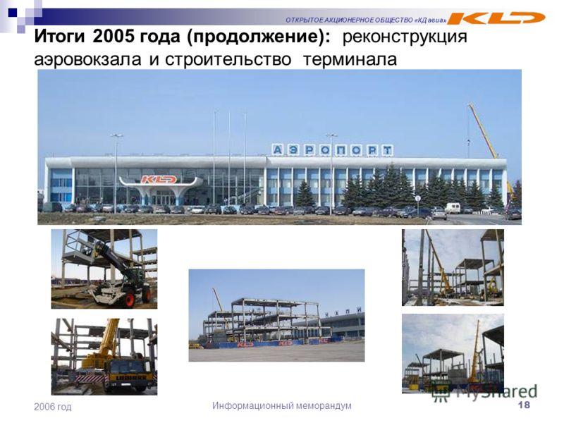 ОТКРЫТОЕ АКЦИОНЕРНОЕ ОБЩЕСТВО «КД авиа» Информационный меморандум18 2006 год Итоги 2005 года (продолжение): реконструкция аэровокзала и строительство терминала