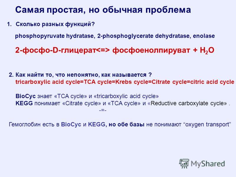 Самая простая, но обычная проблема 2-фосфо-D-глицерат фосфоенолпируват + H 2 O 1.Сколько разных функций? phosphopyruvate hydratase, 2-phosphoglycerate dehydratase, enolase 2. Как найти то, что непонятно, как называется ? tricarboxylic acid cycle=TCA
