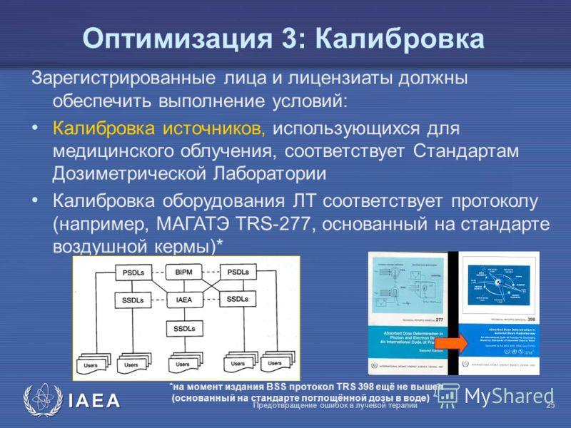 IAEA Предотвращение ошибок в лучевой терапии25 Оптимизация 3: Калибровка Зарегистрированные лица и лицензиаты должны обеспечить выполнение условий: Калибровка источников, использующихся для медицинского облучения, соответствует Стандартам Дозиметриче